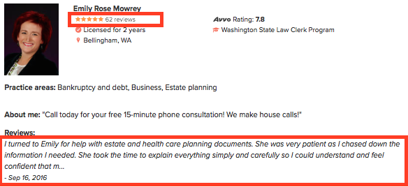Emily and Avvo Attorney